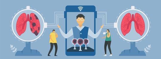 nouvelle technologie de diagnostic pulmonaire sur smartphone vecteur