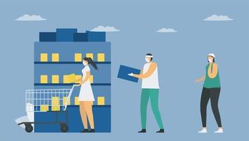 distanciation sociale en supermarché vecteur
