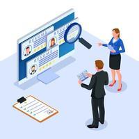département des ressources humaines vérifiant le CV en ligne du candidat vecteur