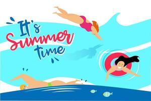 affiche de la vie d'été sur la plage vecteur