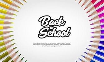 Retour à la bannière de l'école avec des crayons de couleur