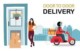 conception de service de livraison porte à porte sans contact vecteur
