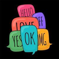 bulles de dialogue doodle coloré brillant avec différentes phrases vecteur