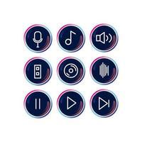 jeu d'icônes de musique moderne rond lumineux