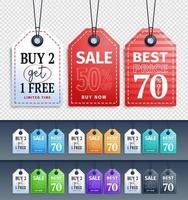 jeu d'étiquettes de vente suspendus colorés