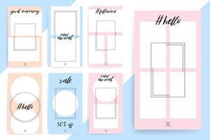 modèles de cercle et de rectangle pastel pour les histoires et les flux vecteur