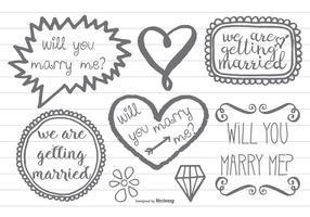 Style à la main marqué Marry Me Doodles vecteur