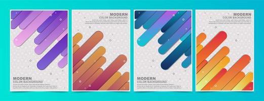 ensemble de couvertures de lignes angulaires fluides colorées