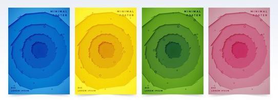 couvertures de cercle concentriques en papier découpé grossièrement vecteur