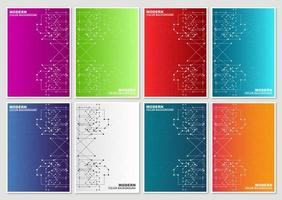 ensemble de couvertures colorées de lignes tech abstraites