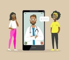 consultation d'un médecin en ligne vecteur