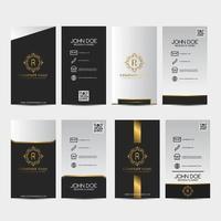 ensemble de cartes de visite premium noir, or et blanc vecteur