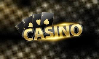 bannière de casino de luxe noir et or aces noir vecteur
