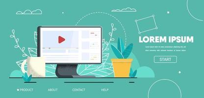maquette de page de destination pour travailler avec du contenu vidéo