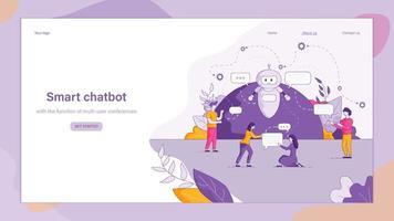 illustration chatbot intelligent répond aux questions des gens vecteur