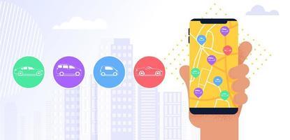 application mobile de service d'autopartage vecteur