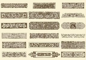 Scrollwork floral divider vectors