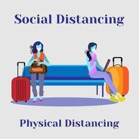 deux femmes, distance sociale, à, station