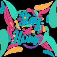 '' rester à la maison '' couleur amusante typographie vecteur