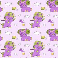 mignonnes petites licornes violettes en amour modèle sans couture vecteur