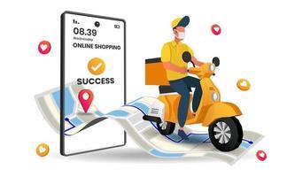 service de livraison d'applications mobiles en ligne par scooter vecteur