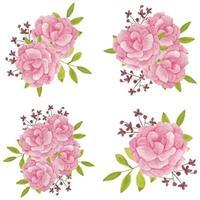 ensemble de bouquet de fleurs de pivoine aquarelle peinte à la main vecteur