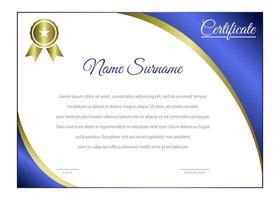 élégant modèle de certificat horizontal bleu et or