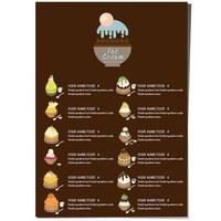 modèle de menu dessert à la crème glacée.