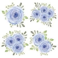 ensemble d'arrangements de fleurs rose pourpre aquarelle vintage