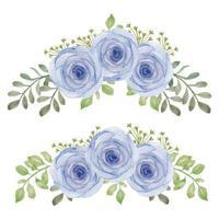 ensemble de bouquet de courbe de fleur rose aquarelle peinte à la main