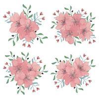 aquarelle fleur de cerisier printemps fleur bouquet vecteur