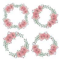 ensemble de couronne florale de fleur de cerisier vecteur