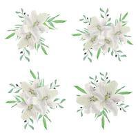 collection de bouquet de fleurs de lys blanc aquarelle vecteur