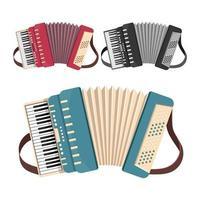 ensemble accordéon isolé sur fond blanc vecteur