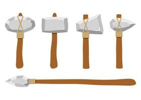 armes en pierre anciennes isolés sur fond blanc vecteur
