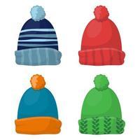 ensemble de chapeau d'hiver isolé sur fond