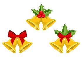 cloches de Noël isolés sur fond blanc vecteur