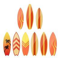 ensemble de planche de surf isolé sur fond blanc