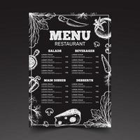 menu de style de croquis pour le restaurant vecteur
