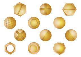 Ensemble de vecteur de tête d'ongle en or