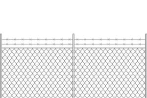 clôture métallique avec fil de fer barbelé vecteur