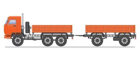 camion commercial orange avec remorque vecteur