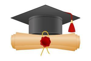 chapeau de graduation et conception de diplôme vecteur