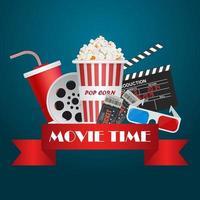 affiche de temps de film avec des éléments de cinéma et bannière vecteur