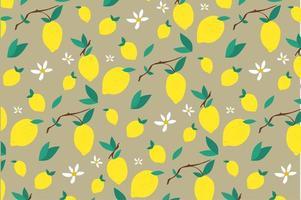 motif de fleurs de citron et de feuilles vecteur