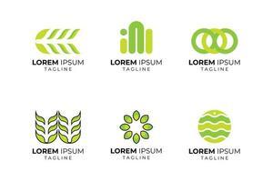 ensemble de logo d'entreprise de forme abstraite verte