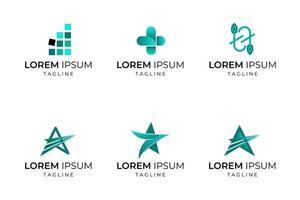 étoile et autre ensemble de logo d'entreprise de forme abstraite