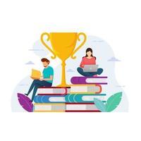 conception de l'éducation avec des gens assis sur des livres et un trophée