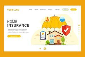 Page d'accueil de la protection parapluie de l'assurance habitation vecteur