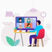 travail de réunion en ligne depuis la conception de la maison vecteur